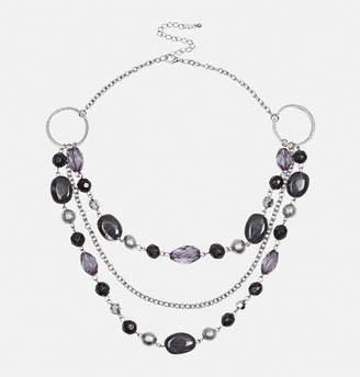 Avenue 3-Row Black Bead Necklace