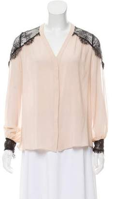 Alice + Olivia Lace Accented V-Neck Button-Up