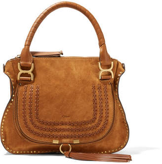Chloé The Marcie Medium Whipstitched Suede Tote - Light brown