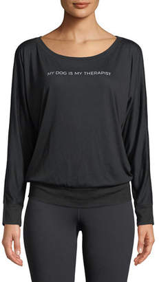 FOR BETTER NOT WORSE Dog Therapist Long-Sleeve Boat-Neck Tee