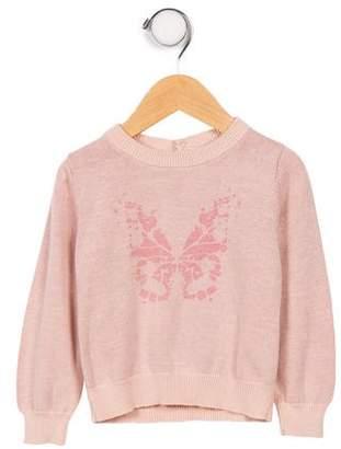 C de C Girls' Butterfly Print Knit Sweater