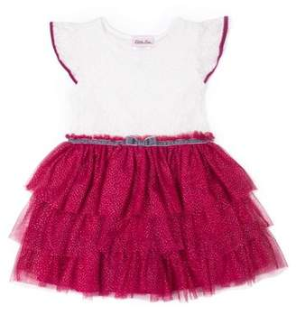 Little Lass Flutter Sleeve Lace and Tiered Skirt Special Occasion Holiday Dress (Baby Girls & Toddler Girls)