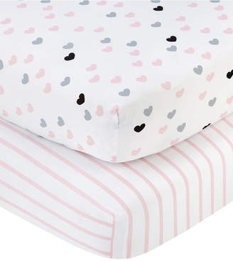 NoJo Little Love by Hugs & Kisses 2-Pc. Heart & Stripe-Print Fitted Crib Sheet Set Bedding