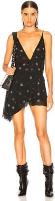 Amiri Asymmetrical Deep V Beaded Dress in Black   FWRD