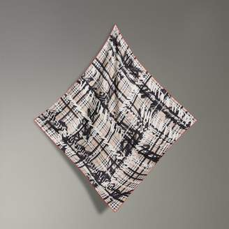 Burberry Scribble Check Silk Square Scarf