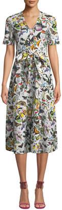 Mary Katrantzou Jayjay 1/2-Sleeve Tie-Waist Butterfly Poplin Midi Dress