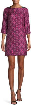 Milly Julia Boat-Neck 3/4-Sleeve Chain-Print Twill Dress