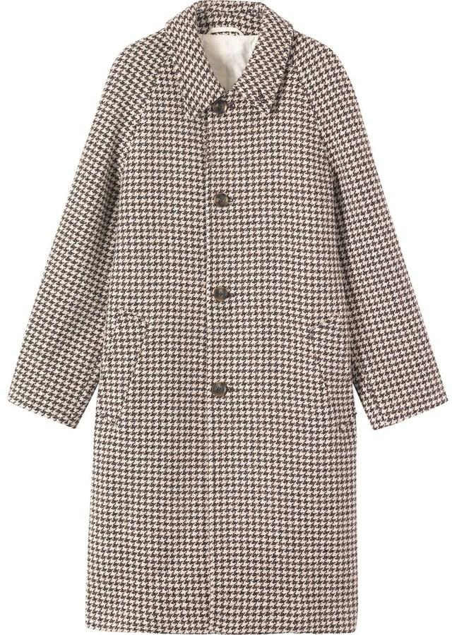 Houndstooth Tweed Raglan Coat