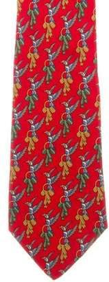 Salvatore Ferragamo Silk Bird Print Tie