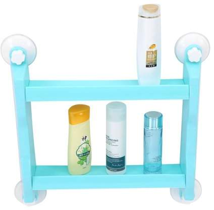EECOO Bathroom Kitchen Double Tiers Strong Suction Cup Rack,Double Tier Wall Mount Storage Shelf,Blue