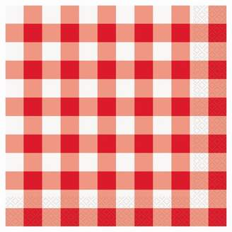 Unique Industries Gingham Dinner Napkins, 8 in, Red & White, 16ct