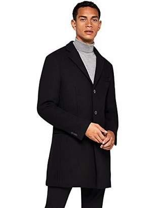 find. Men's Coat in Longline Wool, (Black), Large