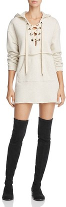 KENDALL and KYLIE Hooded Lace-Up Sweatshirt Dress $195 thestylecure.com
