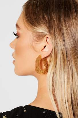 boohoo Glitter Resin Abstract Hoop Earrings