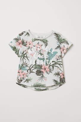 H&M Glitter-print T-shirt - Gray