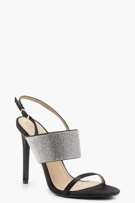boohoo Diamante Sling Back Sandals