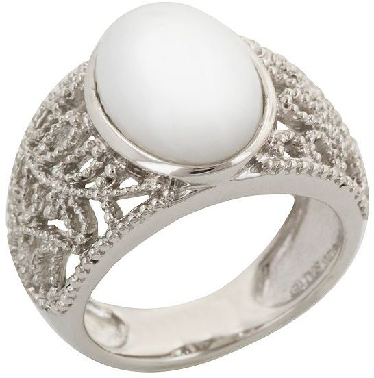 Sterling silver white onyx ring