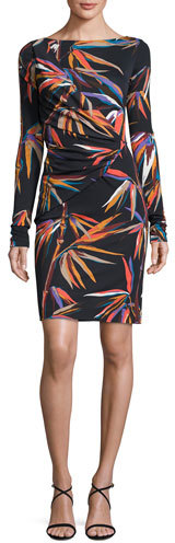 Emilio Pucci Emilio Pucci Long-Sleeve Boat-Neck Sheath Dress, Black/Multi Print