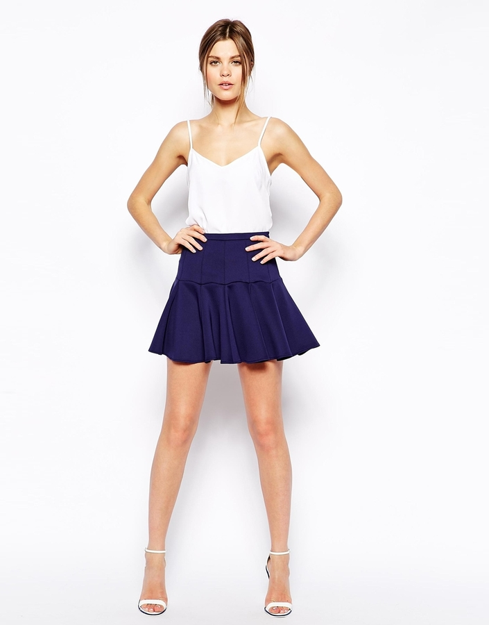 Asos Mini Skirt in Scuba with Flippy Hem