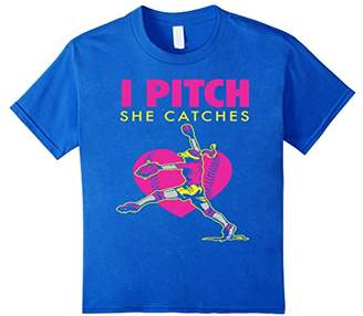 Softball Parent Fan T-Shirt - I Pitch She Catches Tee