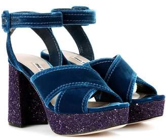 Miu Miu Velvet and glitter plateau sandals