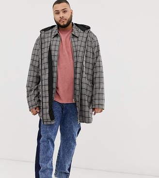 Asos Design DESIGN Plus two-piece parka jacket in gray check