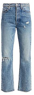 Mother Women's Tripper High-Rise Distressed Cropped Jeans