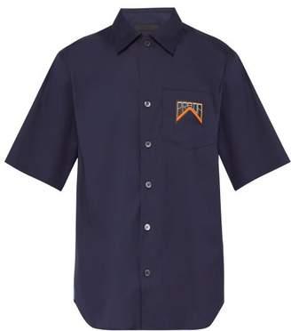 Prada Logo Patch Short Sleeved Cotton Blend Shirt - Mens - Navy Multi