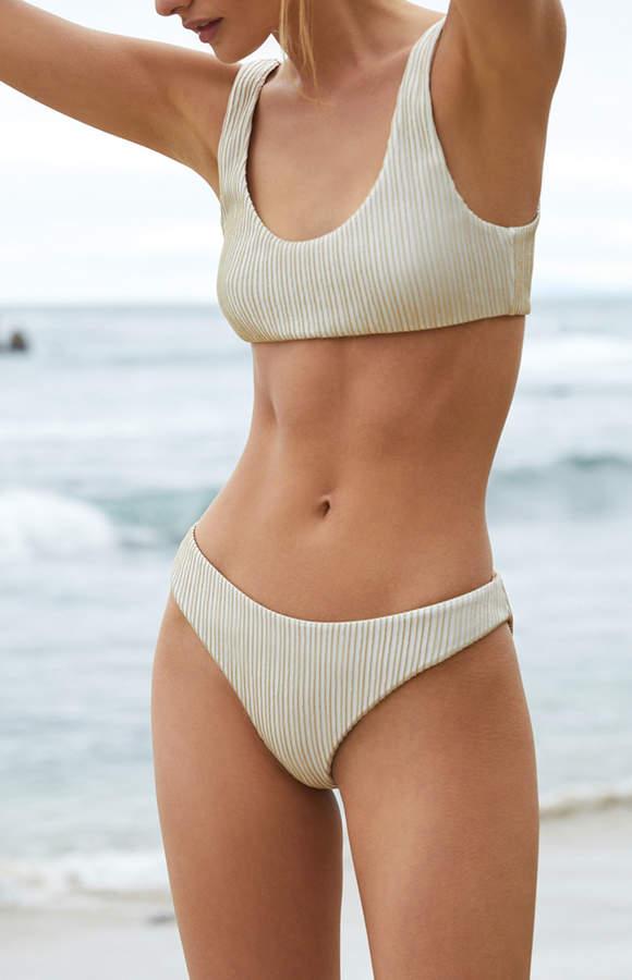 Kendall & Kylie White & Gold High Cut Cheeky Bikini Bottom