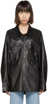 R 13 Black Leather Fringe Shirt