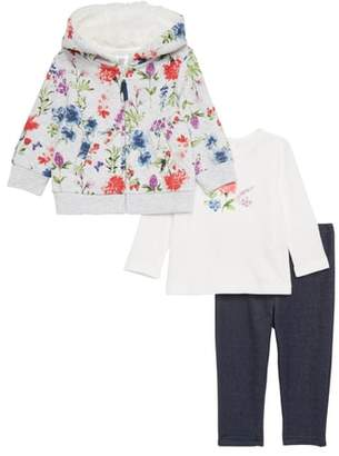 Little Me Floral Quilted Hoodie, Tee & Leggings Set