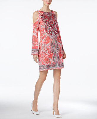 INC International Concepts Printed Cold-Shoulder Dress, Only at Macy's $79.50 thestylecure.com