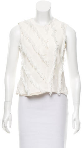 Rebecca TaylorRebecca Taylor Sleeveless Fringe-Trimmed Top w/ Tags