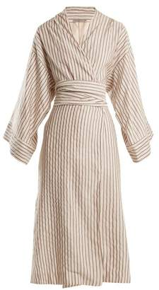 Isabella Collection Three Graces London Striped Cotton Blend Robe - Womens - White Stripe