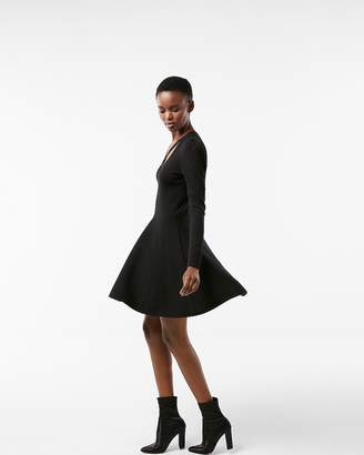 Express Crisscross Neck Puff Shoulder Fit And Flare Dress