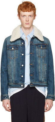 AMI Alexandre Mattiussi Blue Denim Shearling Collar Jacket $480 thestylecure.com