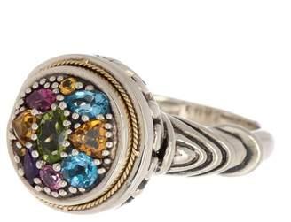 Effy Sterling Silver & 18K Gold Multi-Color Gemstone Cluster Ring - Size 7