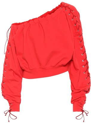 Unravel Lace-up cotton sweatshirt