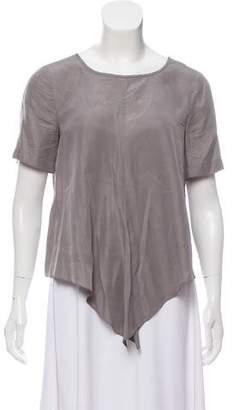 Tibi Silk Short Sleeve Top
