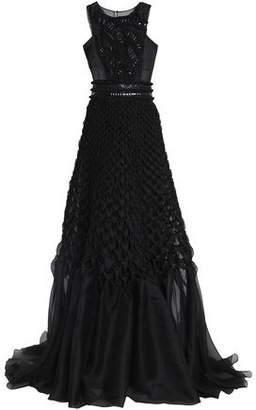 Alberta Ferretti Embellished Smocked Silk-Organza Gown
