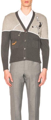 Thom Browne Classic Cotton Crepe Tennis Embroidered Cardigan