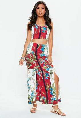 Missguided Red Printed Maxi Skirt Top Co Ord Set