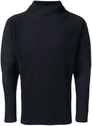 Pleats Please Issey Miyake ribbed-style mock neck fitted jumper