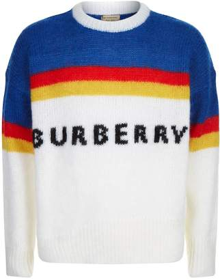 Burberry Striped Logo Intarsia Mohair Wool Blend Sweater