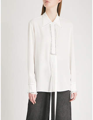 Mo&Co. Crystal-embellished silk-crepe shirt
