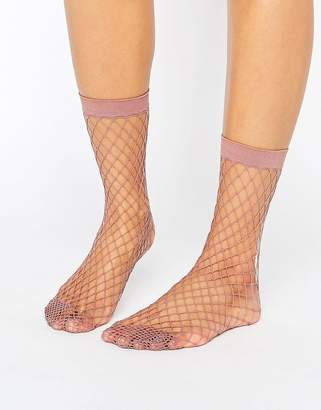 Asos DESIGN Oversized Fishnet Ankle Socks in Mauve