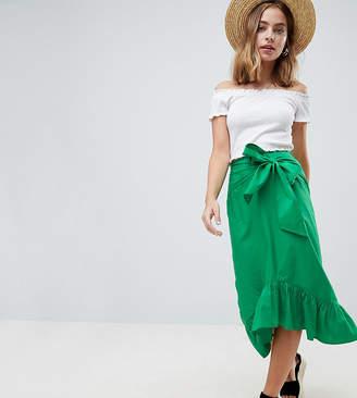Asos (エイソス) - ASOS Petite ASOS DESIGN Petite cotton midi skirt with tie belt and ruffle hem