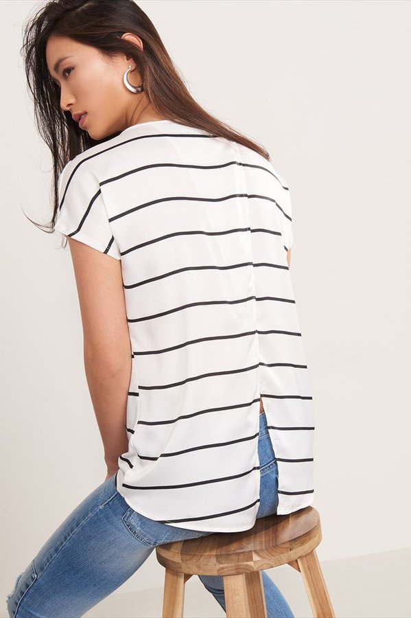 Mixed Fabric Tee with Open Back