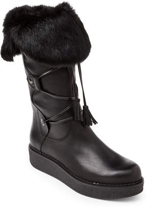 Elena Black Fur-Trimmed Lace-Up Leather Boots