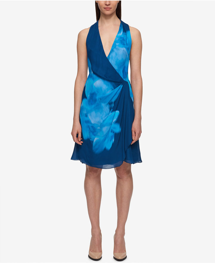 DKNY DKNY Printed Draped Chiffon A-Line Dress